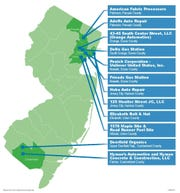Map of New Jersey showing locations of alleged polluters.