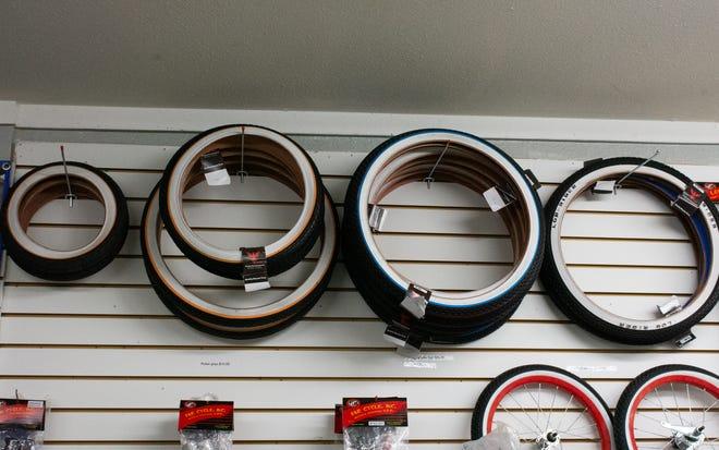 Whitewall bicycle tires on display at Kali Certified Bike Shop in Desert Hot Springs, Calif. on September 18, 2020.