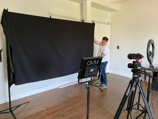 Gordon Whitney of The Marriage Group LLC uses the photo/video room to make a promotional video in Foundry, the former Art Studio 1219 building, in Port Huron.