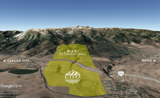 The remaining land that can be developed at St. James's Village, and open land to the east for which the Sierra Reflections community is planned, is for sale as one tract for $50 million.