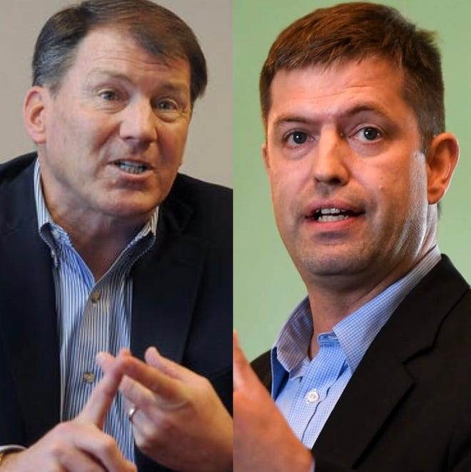 Sen. Mike Rounds (left) is challenged by Dan Ahlers in the 2020 U.S. Senate election.