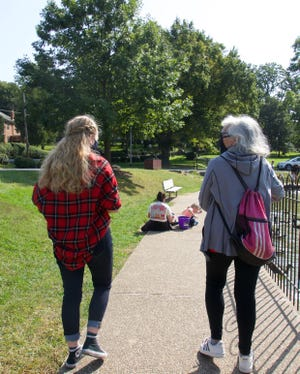 Katherine Mulokey and Debbie Lebson Jacobs at Gypsy Hill Park in Staunton on Wednesday, Sept. 23, 2020. Mulokey and Jacobs are part of Team Tikvah (Hebrew word for Hope) in the Out of Darkness walk for suicide prevention.