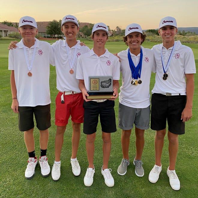 The Crimson Cliffs' golf team, after winning the Region 9 title.
