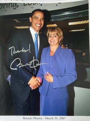Then Sen. Barack Obama with Rep. Loranne Ausley in 2007, after Ausley endorsment of the Obama presidential campaign.