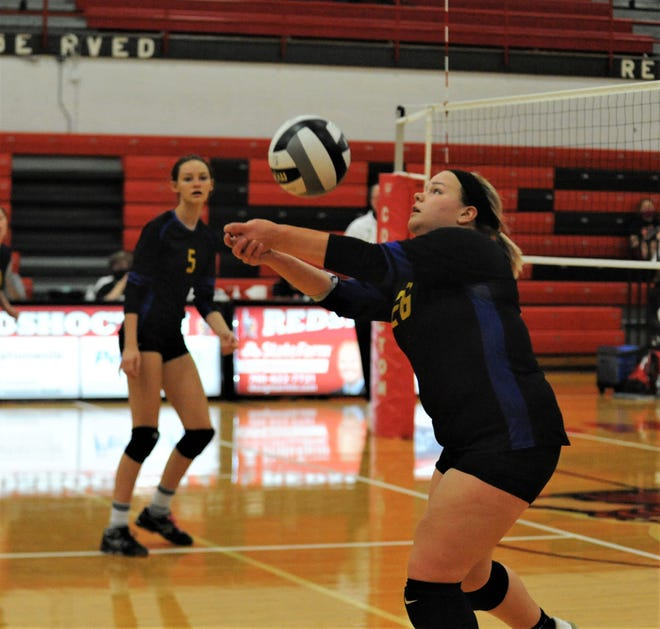 Philo's Natalie May hits the ball in Thursday's match against Coshocton at The Wigwam.