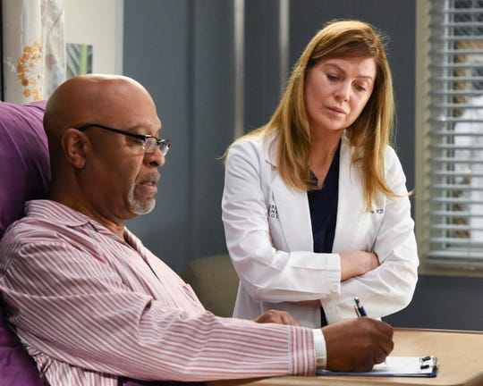 "James Pickens Jr., left, and Ellen Pompeo star in ABC's ""Grey's Anatomy,"" one of many TV shows who will delay returning to production after the holiday hiatus due to a COVID-19 surge in Los Angeles."