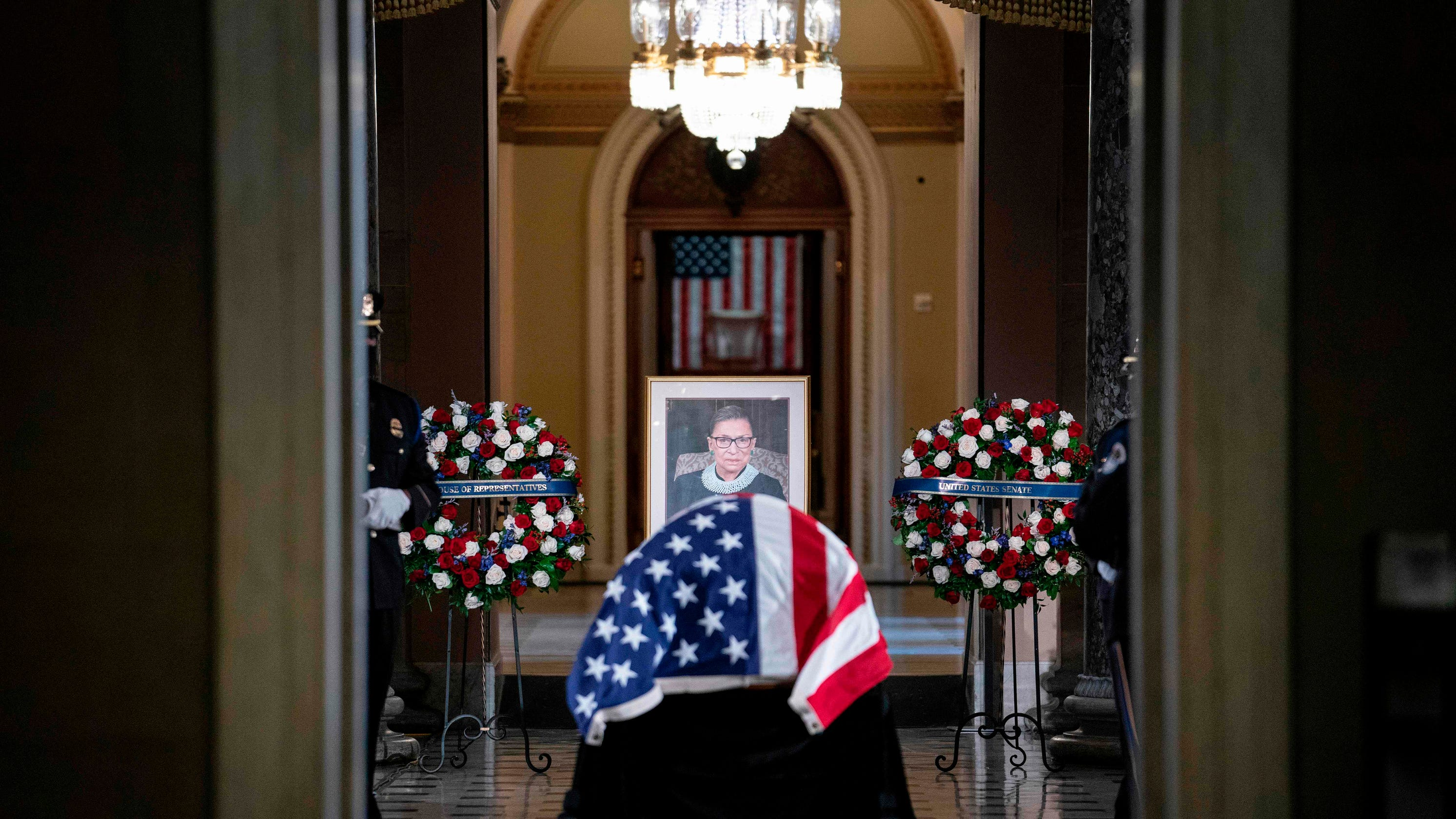 Ruth Bader Ginsburg makes history as the first woman, Jewish person to lie in state at Capitol ceremony