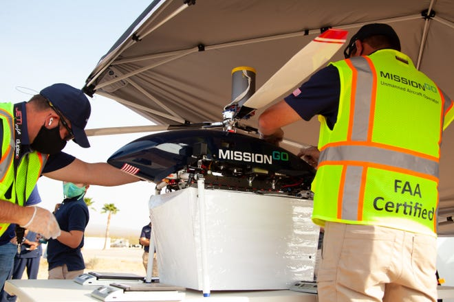 MissionGO conducts test flights of the unmanned aerial system (UAS) in the Nevada desert. The tests aim to prove the viability of unmanned aircraft in the organ transplantation chain.