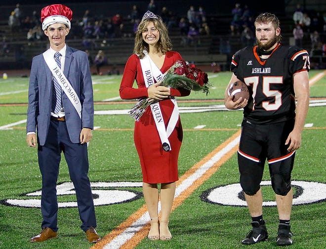 Ashland High School's Aiden Baker and Miayah Lewis were announced as homecoming king and queen and Chase Blessing as Mr. Football during halftime of the game against Lexington High School on Friday. Ashland won the game 44-10.