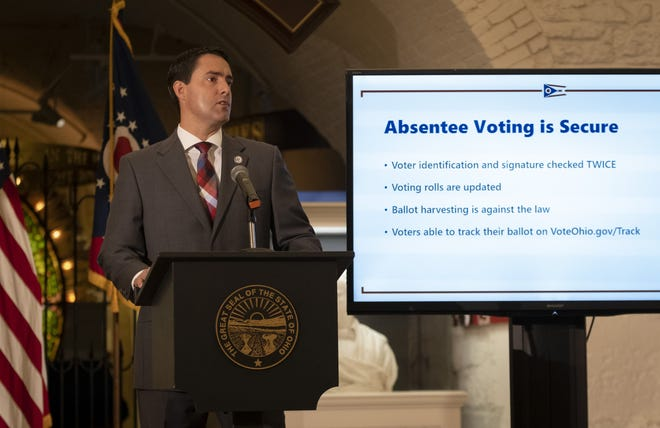 Ohio Secretary of State Frank LaRose stresses the reliability of absentee voting during a press conference on election security at the Statehouse in August.