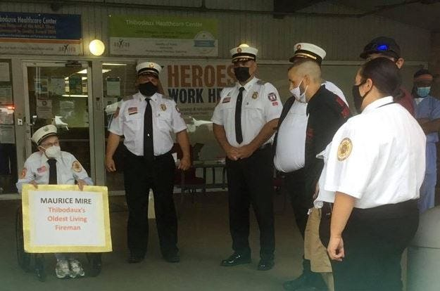 A photo of the visit posted to the Thibodaux Volunteer Fire Department's Facebook page Friday.
