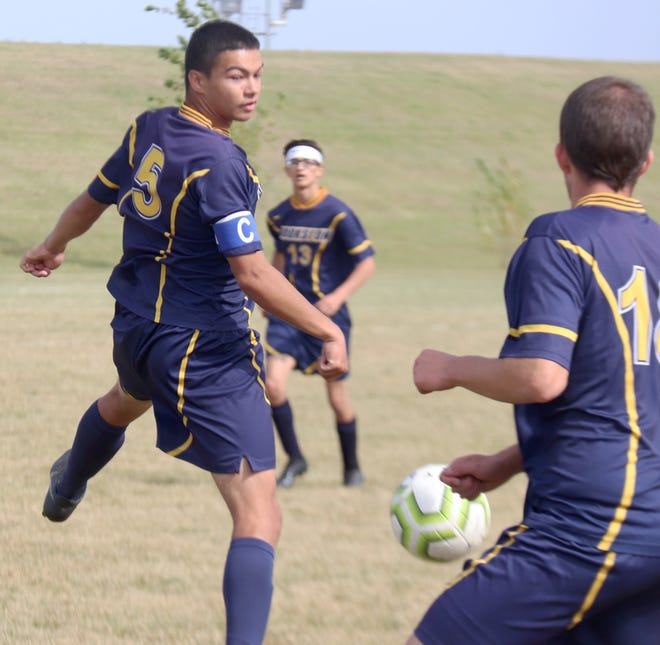 Gabe Montieth heads the ball during Crookston's 4-0 loss to Fargo North on Saturday afternoon.
