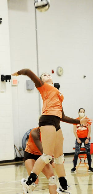Meadowbrook's Megan Devillez (9) jumps to spike the ball over to Cambridge during volleyball action on Saturday at Meadowbrook High School.