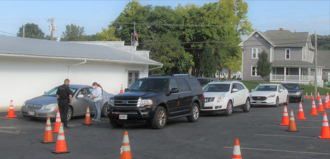Vehicles lined up on Sep. 28 at the Lions Club in Loudonville to take advantage of free COVID-19 tests provided by the Ohio Department of Health and administered by the Ashland County Health Department.