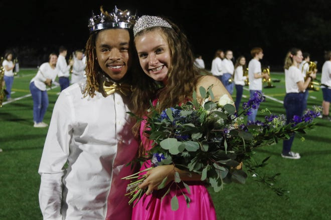 Burlington High School's 2020 Homecoming king Michael Alexander and queen Jessica Kendell are shown Friday, Sept. 25, after both being crowned during the halftime of their homecoming game against Fort Madison High School at Burlington's Bracewell Stadium.
