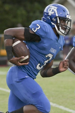 Trinity Christian's Treyaun Webb (3) runs with the ball in a 2020 game against Columbia. Webb committed to Oklahoma football this weekend.