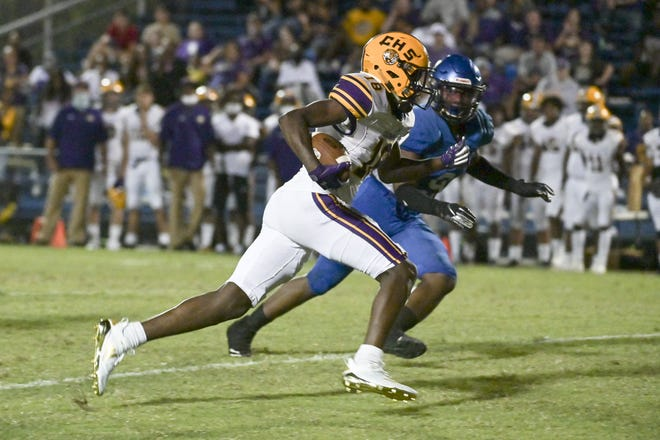 Columbia High School Tigers wide receiver Marcus Peterson (18) rushes for yardage in the first half action football game Friday night, September 25, 2020 at Trinity Christian in Jacksonville, Florida. [Stan Badz/Special to The Florida Times-Union]