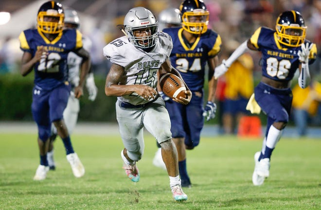 Ridge Community's Keymari Odum, already the county's top receiver, had another spectacular game with 169 yards and one touchdown on six receptions. He also rushed for 183 yards and two touchdowns on 20 carries.