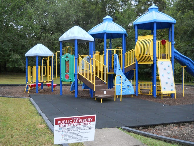 Playgrounds such as Milt Dickens Park are now open, but with advisory signs.