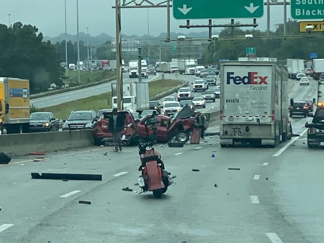 The Facebook group VA Statewide Incidents posted this photo of the accident at the 52-mile marker on northbound Interstate 95 in Petersburg Saturday, Sept. 26, 2020.