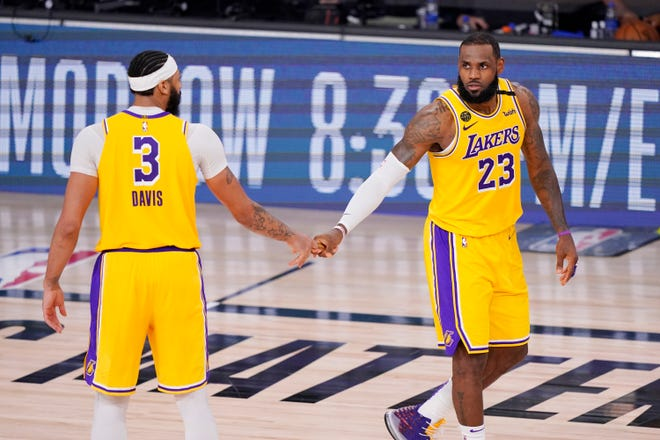 Anthony Davis (3), LeBron James (23) and the Los Angeles Lakers can advance to the NBA Finals with a win over the Denver Nuggets in Game 5 of the Western Conference finals on Saturday night.