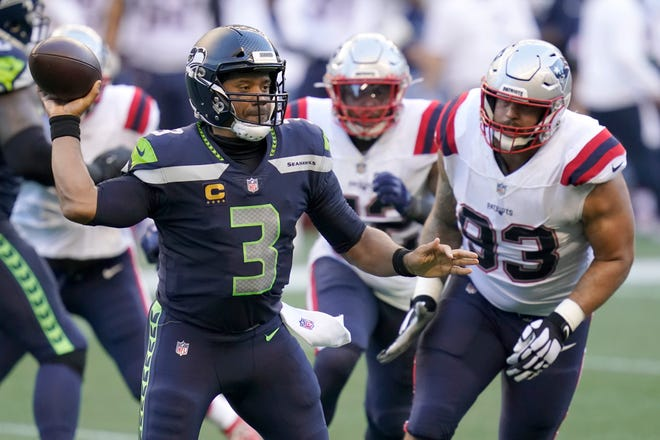 Seattle Seahawks quarterback Russell Wilson threw five touchdown passes in last week's 35-30 home win over the New England Patriots.
