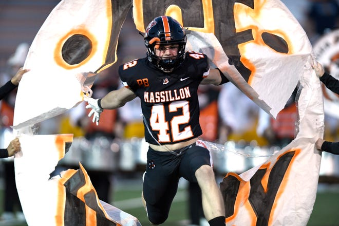 Massillon's Magnus Haines will play a key role in Saturday's 131st Massillon-McKinley game with the way he handles kickoffs and punts for the Tigers.