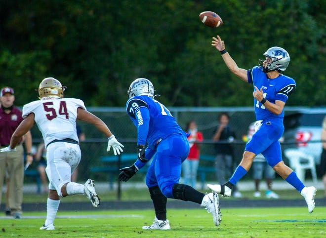 Bartram Trail quarterback Santino Marucci throws a pass during the Sept. 25 win against St. Augustine. Marucci threw for 132 yards and two touchdowns in the Bears' 35-21 win.
