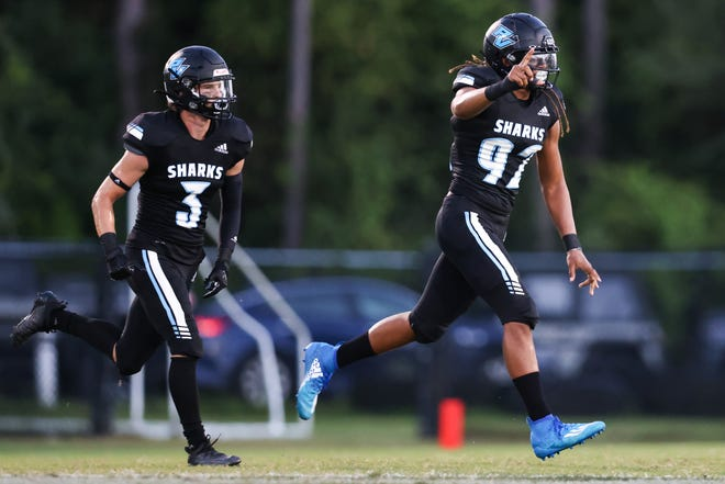 Ponte Vedra Sharks Defensive lineman #92 Kingston Kamal reacts after a defensive play against the Pedro Menendez Falcons at Ponte Vedra High school on Friday, September 25, 2020 in Ponte Vedra Florida.