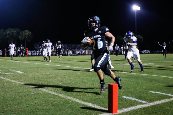 Ponte Vedra running back Campbell Parker (26) scores a touchdown against Menendez Friday night.
