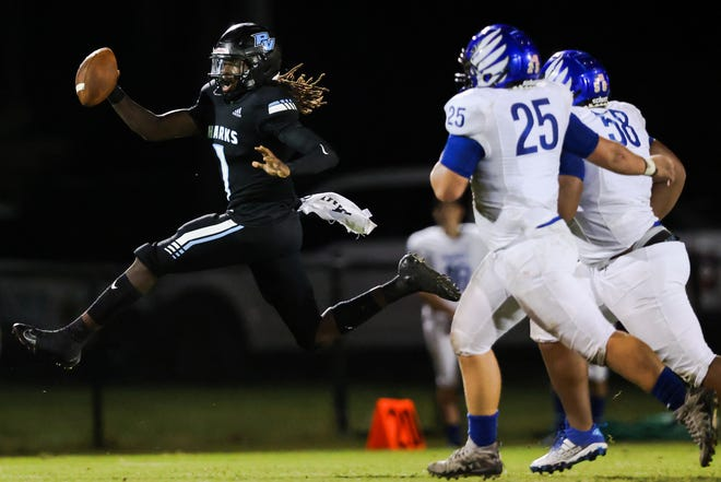 Ponte Vedra quarterback Jacobi Myers runs for yardage against Menendez Friday.