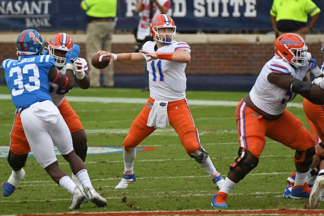 Florida quarterback Kyle Trask releases a pass during the first half Saturday against Mississippi in Oxford, Miss.