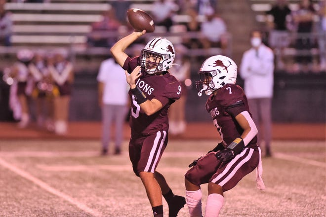Brownwood quarterback Chance Jones (9) throws a pass during Friday's game against Wylie at Gordon Wood Stadium in Brownwood on Sept. 25, 2020. The Bulldogs won 28-7 to open their year while the Lions fell to 2-3.