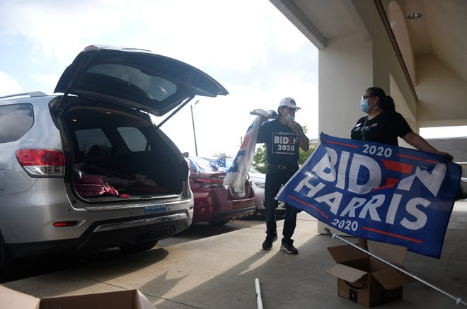 The Nueces County Democratic Party hosts a Joe Biden and Kamala Harris caravan, Saturday, Sept. 26, 2020, across Nueces and Jim Wells County. The caravan started in Corpus Christi then drove to Robstown and Alice.