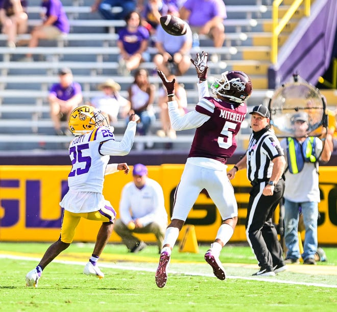 Mississippi St. Bulldogs play against the LSU Tigers during a game in Tiger Stadium in Baton Rouge, Louisiana on September 26, 2020. (Photo by: Chris Parent / LSU Athletics)