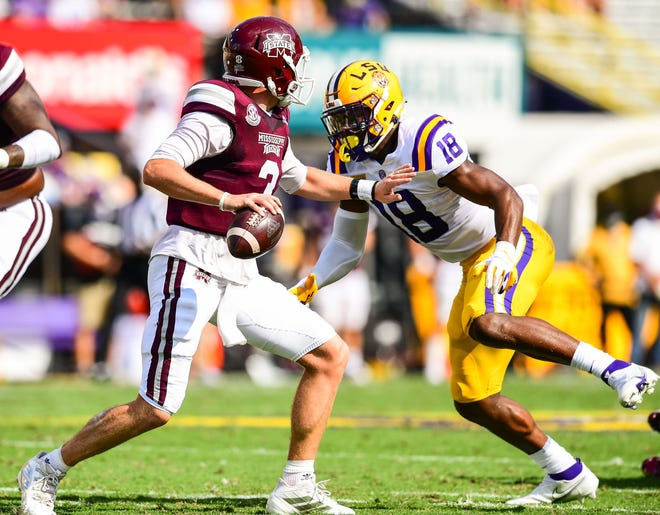 Mississippi St. Bulldogs play against the LSU Tigers during a game in Tiger Stadium in Baton Rouge, Louisiana on September 26, 2020. (Photo by: Gus Stark / LSU Athletics)