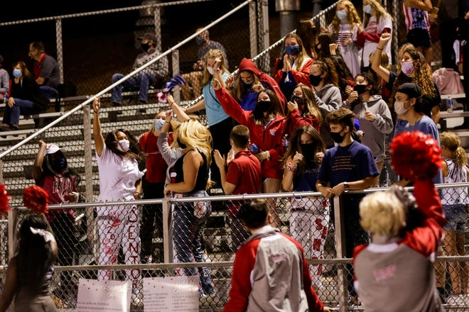 The West Lafayette student section reacts to a touchdown during the fourth quarter of an IHSAA football game, Friday, Sept. 25, 2020 in West Lafayette.