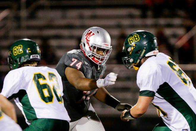 West Lafayette's D'Andre Douglas (74) moves to block during the second quarter of an IHSAA football game, Friday, Sept. 25, 2020 in West Lafayette.