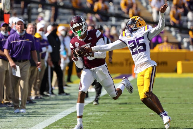LSU cornerback Cordale Flott (No. 25), shown here against Mississippi State this season, was ejected from the LSU-Florida game on Saturday night for targeting in the first quarter.