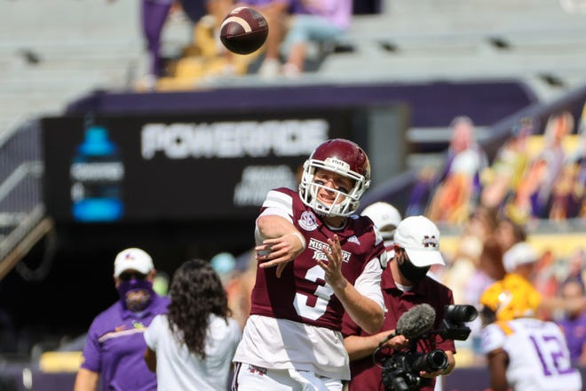 Sep 26, 2020; Baton Rouge, Louisiana, USA; Mississippi State Bulldogs quarterback K.J. Costello (3) warms up prior to kickoff against the LSU Tigers at Tiger Stadium. Mandatory Credit: Derick E. Hingle-USA TODAY Sports