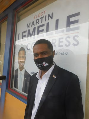 Martin Lemelle Jr., a 5th Congressional candidate with ties to St. Landry Parish, visited Opelousas during a campaign bus tour last week.