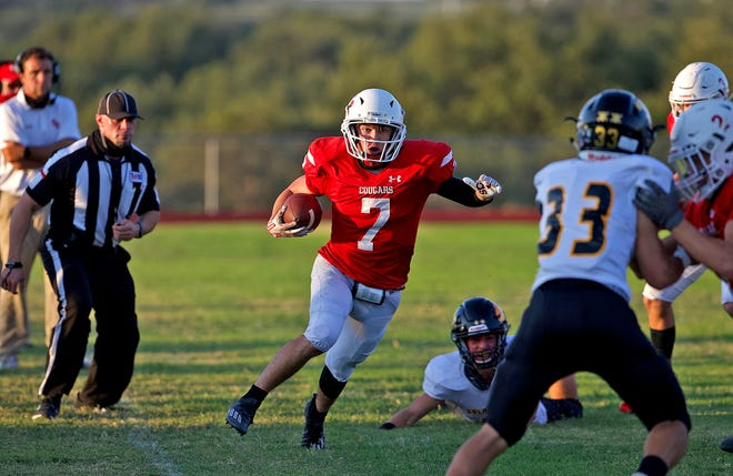 Josh Fava rushed for 105 yards and two touchdowns in Christoval's 56-6 win over Snook in their Class 2A Division II regional semifinal playoff football game Friday, Nov. 27, 2020, in Fredericksburg.