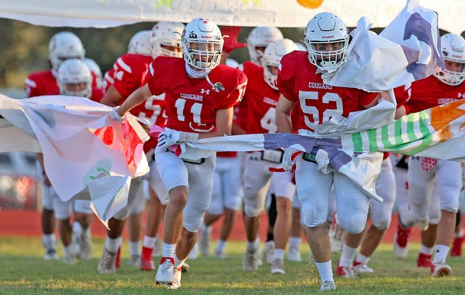 The Christoval High School football team takes the field before a game against Goldthwaite on Friday, Sept. 25, 2020.