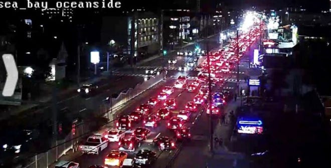 A screenshot of the traffic cam at 61st Street and Coastal Highway looking south around 9:30 p.m on Friday, September 25, 2020 in Ocean City.