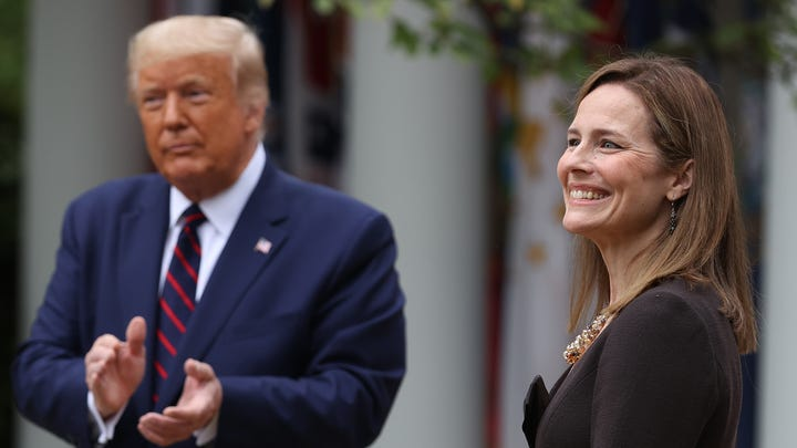 President Donald Trump introduces 7th U.S. Circuit Court Judge Amy Coney Barrett as his nominee to the Supreme Court in the Rose Garden at the White House September 26, 2020 in Washington, DC.