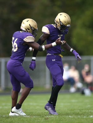 Western Beaver's Daquan Bradford (56) and his brother Dakari Bradford (1) both earned first-team honors on the 2A Three Rivers Conference all-star team: Daquan at linebacker and Dakari at wide receiver.