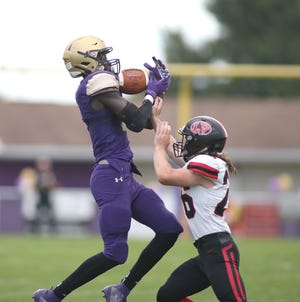 Western Beaver wide receiver Dakari Bradford hauls in a pass from quarterback Xander Lefebvre that he turned into an 83-yard touchdown reception.