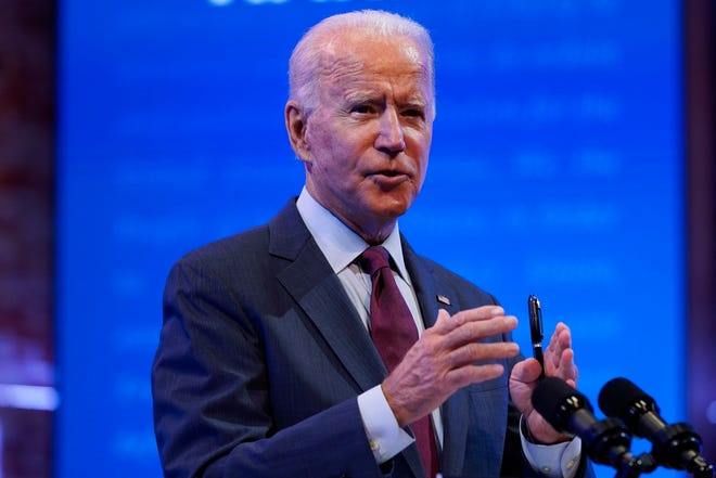 Democratic presidential candidate former Vice President Joe Biden gives a speech at The Queen Theater, Sunday, Sept. 27, 2020, in Wilmington, Del.