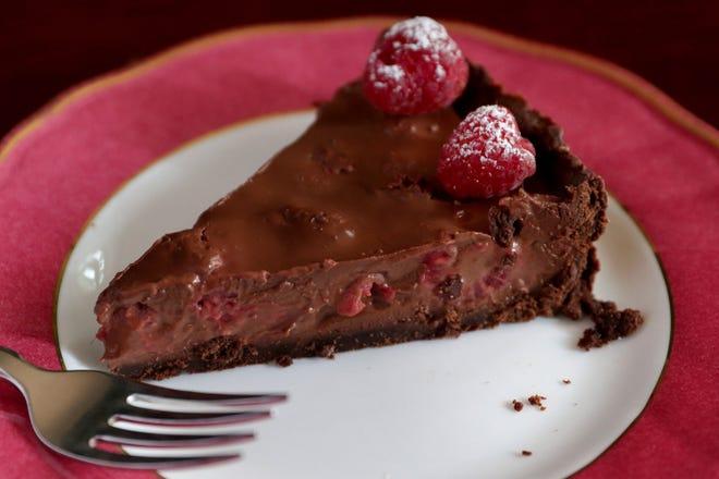 Raspberry and chocolate tart
