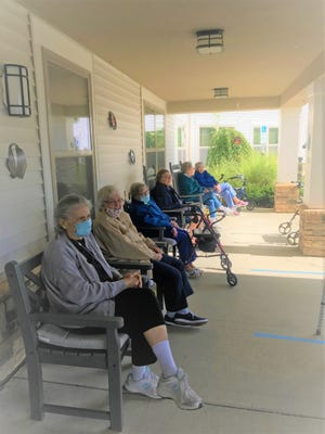 Residents at The Reserve at Brentwood sat socially distanced to enjoy a classic 1950s car show. From left, Janet Jacobs, Leona Letterle, Mary Centorbi, Bernadine Brysacz, Grace Ivory, and Marion Doherty.